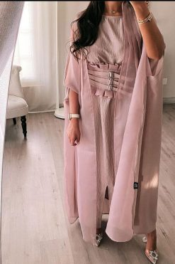 4-Piece Abaya Set: If you are looking for the perfect special occasion abaya, don't let this one pass you by. The blend of Organza and Silk fabric make it sophisticated. It features open front abaya, belt, sheila, and inner dress.