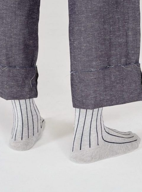 I and Me Branded Grey Stripe Socks