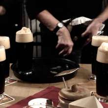 A round of Rauchbier tapped straight from the barrel at the historic Schlenkerla Tavern in Bamberg.