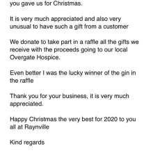 It's amazing to be part of an industry in which people truly care about what they do and one another, @raynvillesuperstore thank you for your Christmas gift of @citadellegin We all hope you have a lovely Christmas and happy New Years!