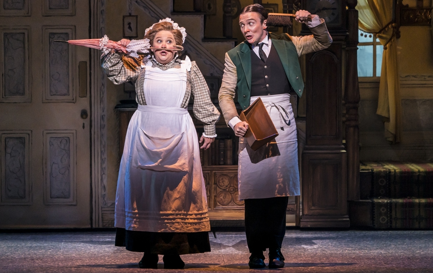 Claire Machin as Mrs Brill and Jack North as Robertson Ay in Mary Poppins - Photograph Johan Persson