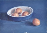 Eggs in a Blue Dish