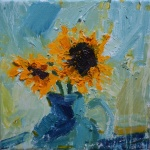 Sunflowers in a Teal Jug