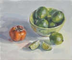 Limes in a Bowl and Persimmon
