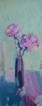 Tall Pink Roses in a Glass Vase
