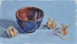 Physalis and Bowl, blue background …