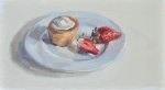 Muffin and Strawberries on a Plate …