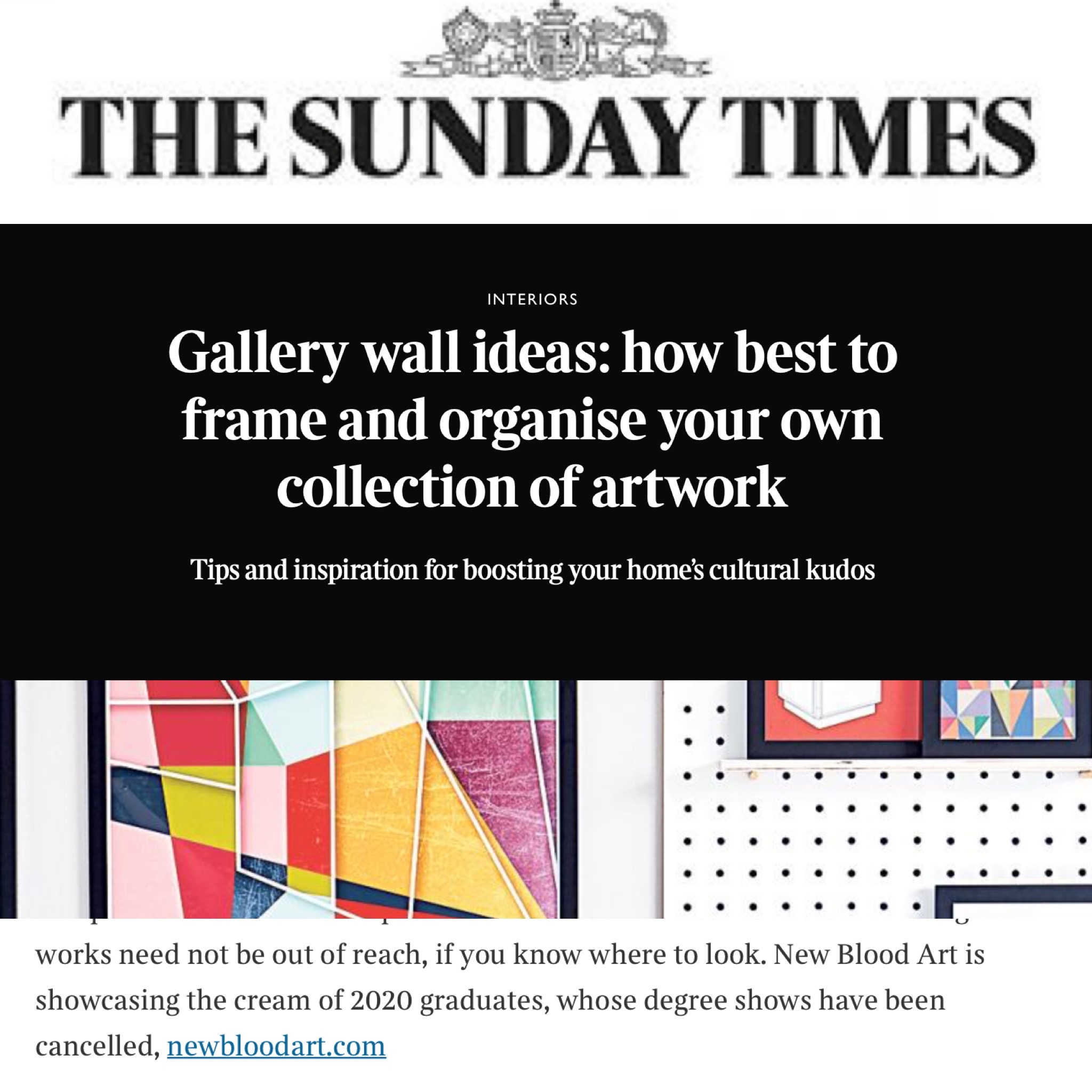 New Blood Art on The Sunday Times