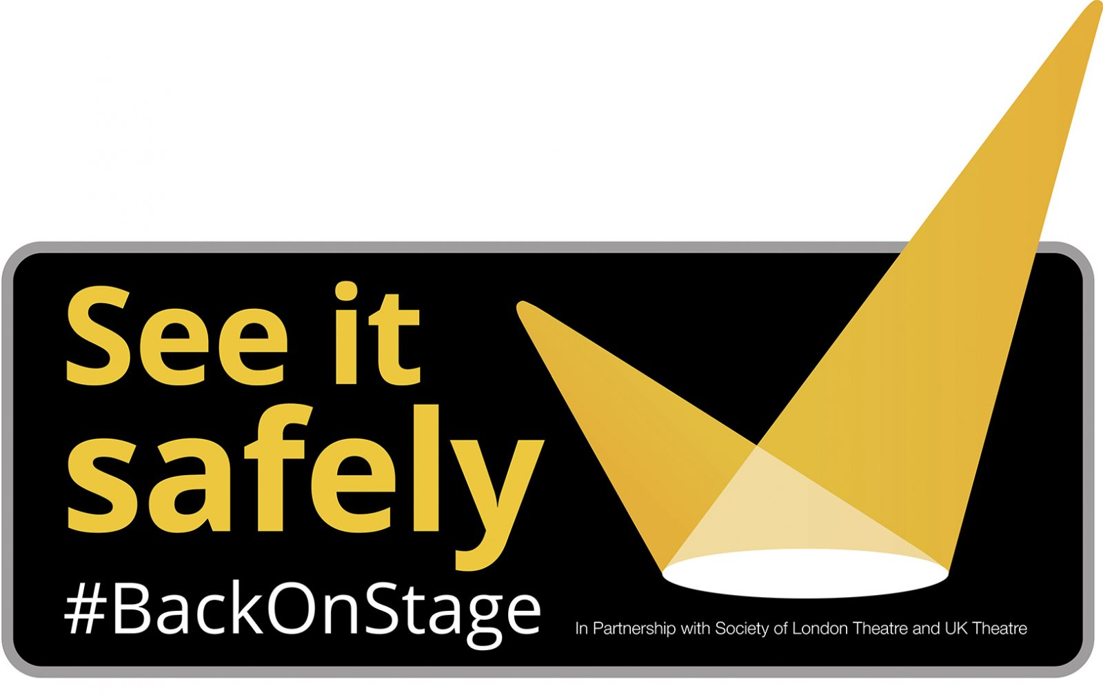 The See It Safely logo from SOLT and UK Theatre, which also reads #BackOnStage