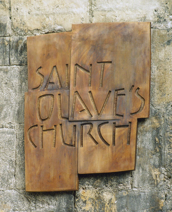 The St Olave's Church bronze sign by Charles Gurrey