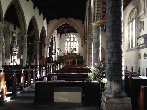 St Olave's Church interior from the west end