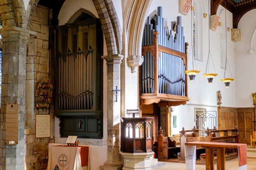 The organ and pulpit