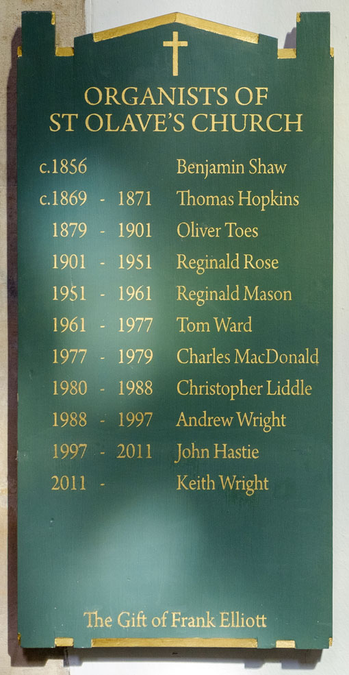 List of organists at St Olave's