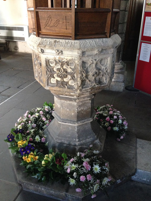 Flowers around the font