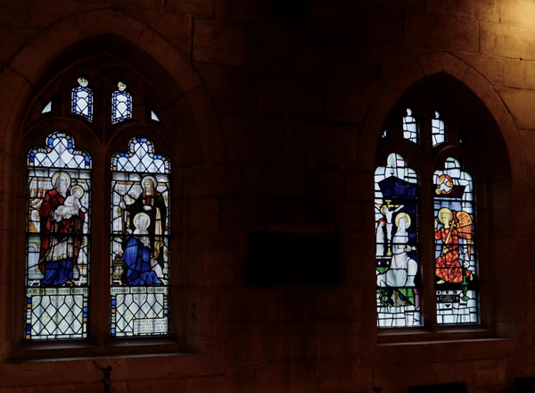 Windows in the Chapel of the Transfiguration south wall