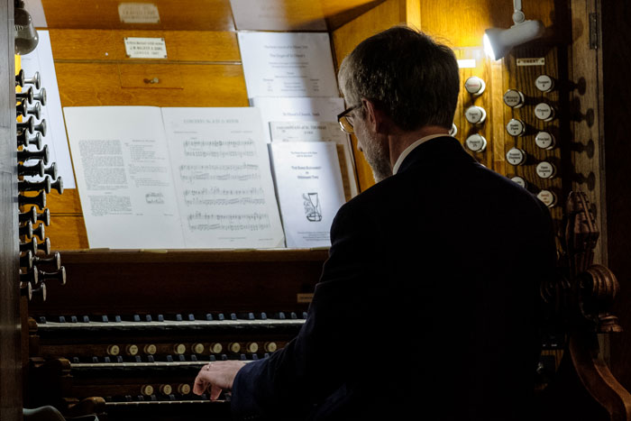 Keith Wright at the organ