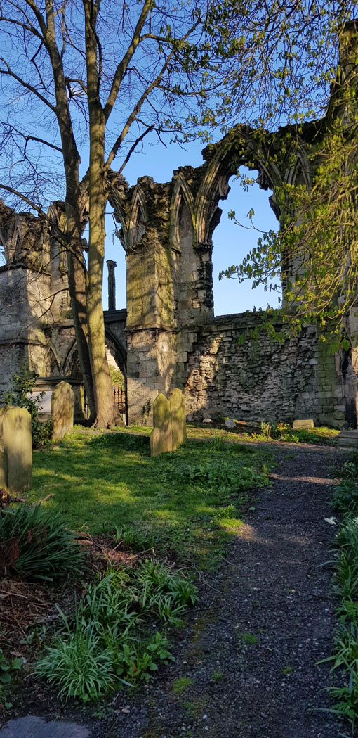 St Mary's Abbey walls from the churchyard