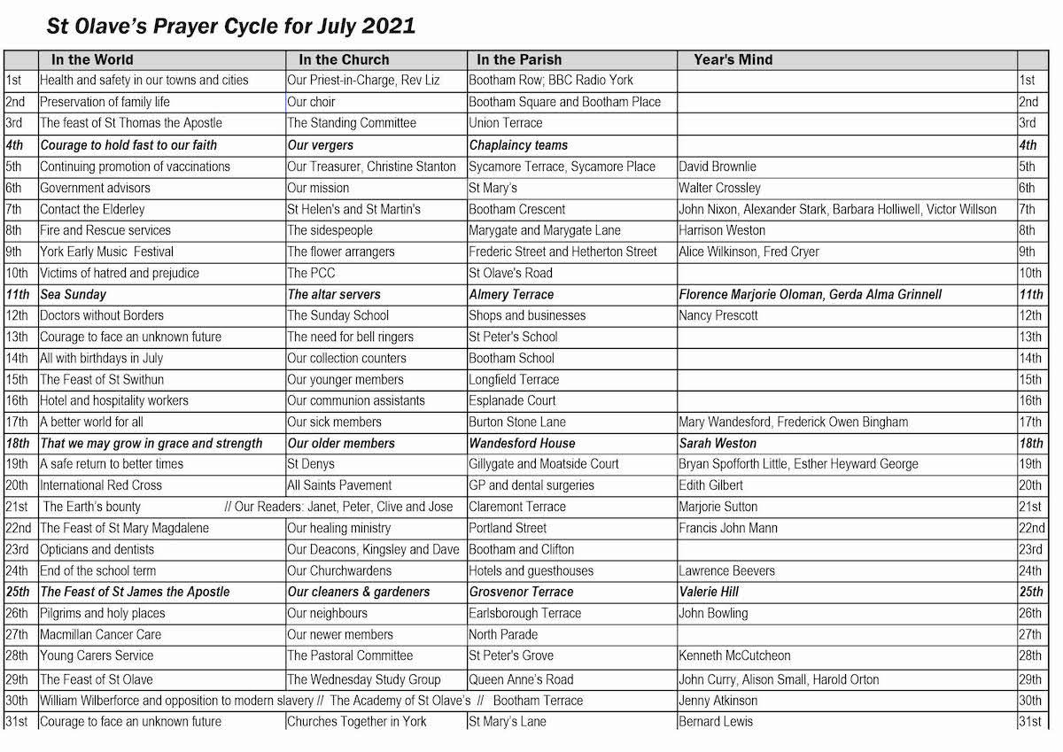 St Olave's Prayer Cycle