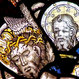 Detail from the East window of Holy Trinity Goodramgate which illustrates the Holy Trinity