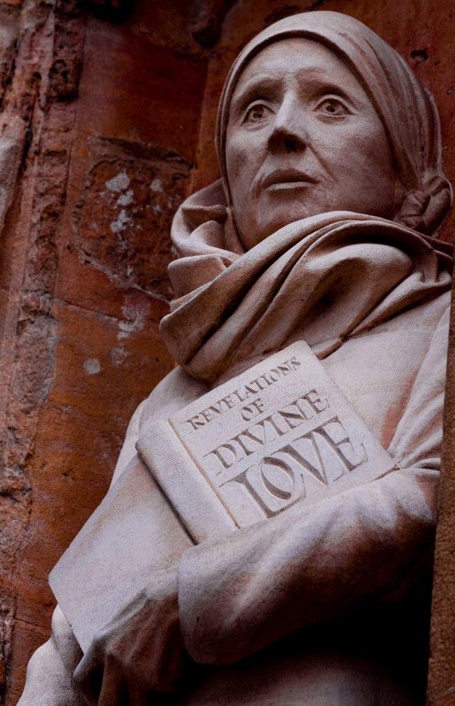 Statue of Julian of Norwich, Norwich Cathedral, by David Holgate FSDC