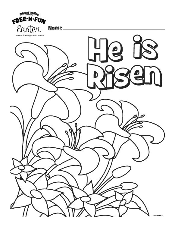He is Risen - Easter colouring page