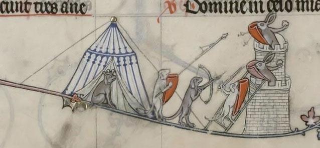 Medieval rabbits defending their warren!