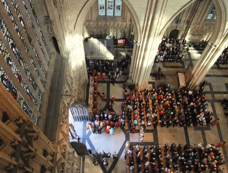 A bird's eye view of the royal party entering York Minster