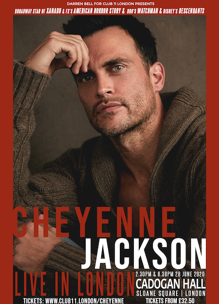 US TV and film star Cheyenne Jackson to perform his first ever concert at Cadogan Hall