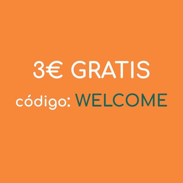 ¡Te damos 3€ GRATIS con el código WELCOME!