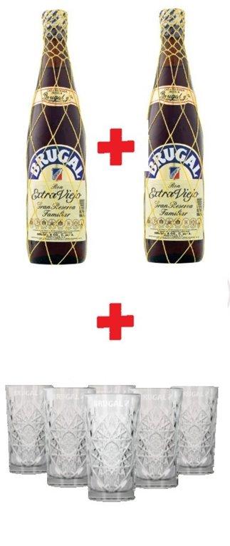 2 Botellas Brugal Extra Viejo + 6 Vasos