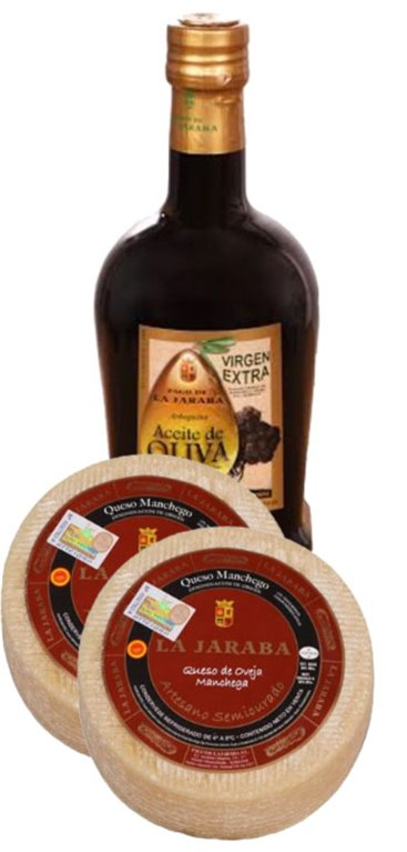 2 Quesos Manchego La Jaraba D.O.P. Semicurado Artesano 1 kg + 1 Aceite de Oliva Virgen Extra Cornicabra Pago de la Jaraba, 1 ud