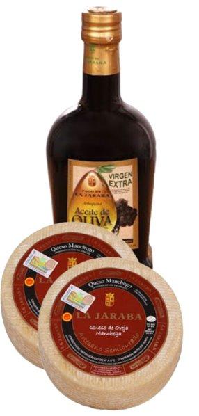 2 Quesos Manchego La Jaraba D.O.P. Semicurado Artesano 1 kg + 1 Aceite de Oliva Virgen Extra Cornicabra Pago de la Jaraba