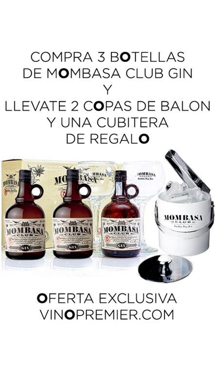 3 Botellas de Ginebra Mombasa + Cubitera Y 2 Copas de Regalo