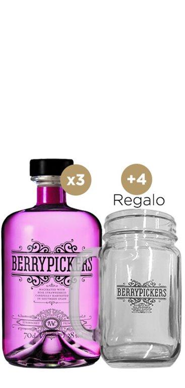 3 Ginebra Berry Pickers + 4 Jarras de regalo