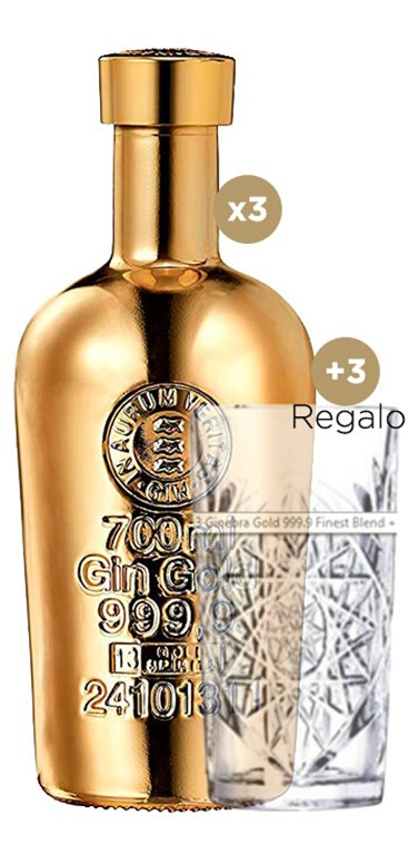 3 Ginebra Gold 999.9 Finest Blend + 3 vasos de regalo