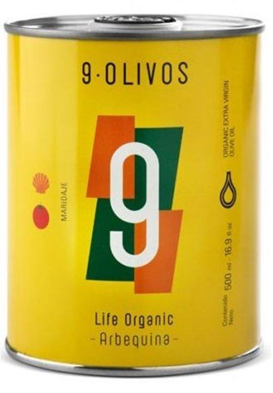 """9·Olivos. """"Life Organic"""" Arbequina 500 ml. Caja de 12 unidades., 1 ud"""