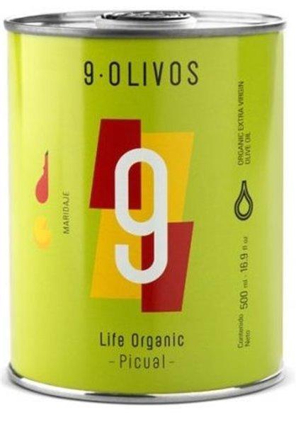 "9·Olivos ""Life Organic"" Picual 500 ml. Caja de 12 unidades."