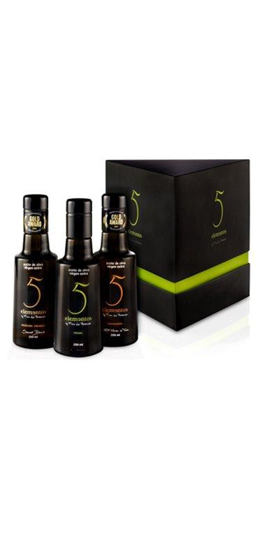 Aceite de Oliva Virgen Extra 5 Elementos Estuche Prisma 3x250ml, 1 ud