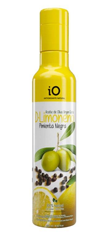 Aceite de Oliva Virgen Extra iO con Limoneno y Pimienta Negra 250ml