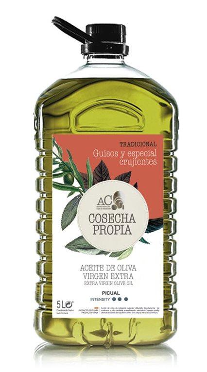 Aceites Castellar. Cosecha Propia.Tradicional. Picual. 5 Litros. Caja de 3 uds., 1 ud