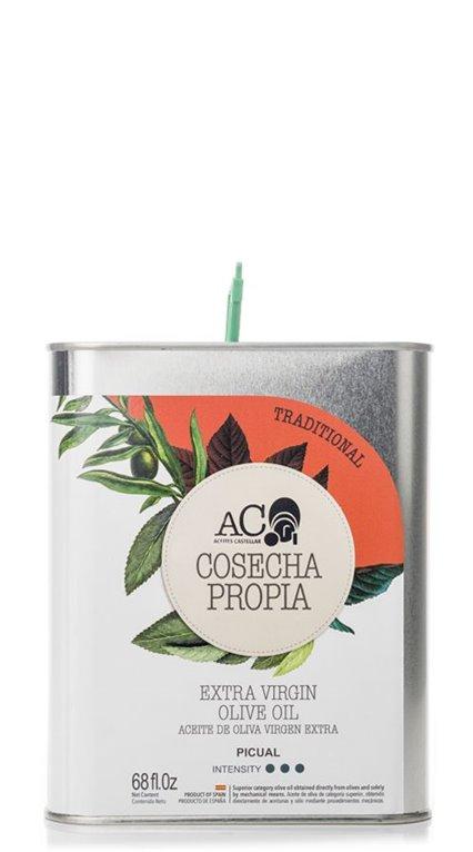 Aceites Castellar. Cosecha Propia.Tradicional. Picual. Lata de 2 Litros. Caja de 3 uds., 1 ud