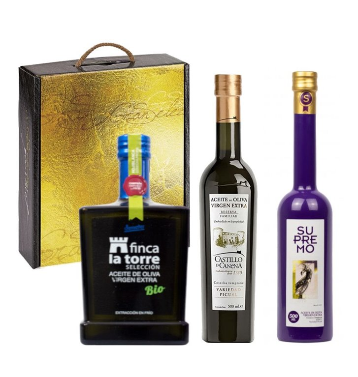 Aceites premio Mario Solinas 2016. Estuche Regalo con 3 botellas de 500 ml.