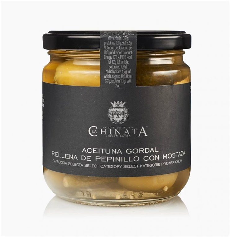 Aceituna Gordal rellena Pepinillo con Mostaza