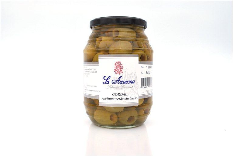 Aceituna Gordal sin hueso La Azucena. Barril de 500g