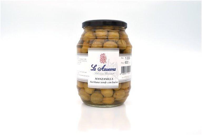 Aceituna Manzanilla con hueso La Azucena. Barril de 550g