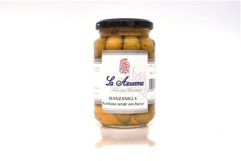 Aceituna Manzanilla sin hueso La Azucena. Tarro de 180g