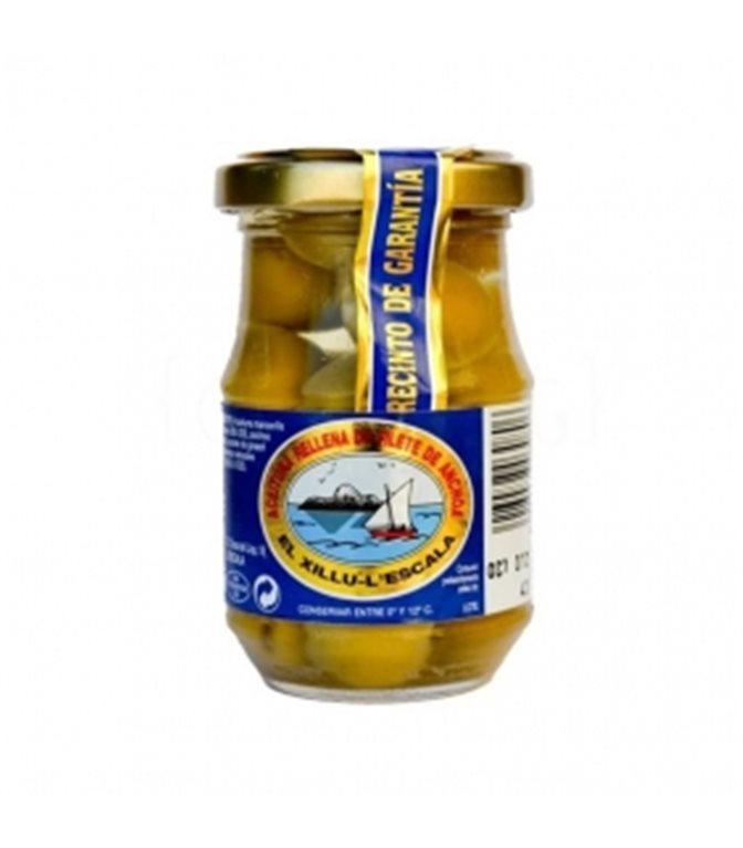 Aceituna rellena de filete de anchoa 140gr. Anxoves El Xillu. 8un.