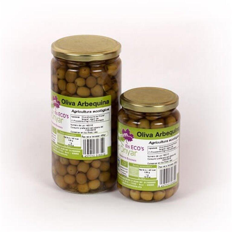 Aceitunas arbequina con agua y sal BIO 450 g