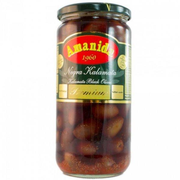 Aceitunas Negras Aliñadas de Kalamata Amanida 580 ml.