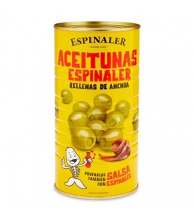 Aceitunas rellenas de anchoa 1420gr. Espinaler. 6un.